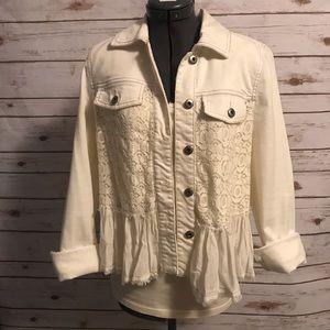 Free People peplum lace denim jacket size 4